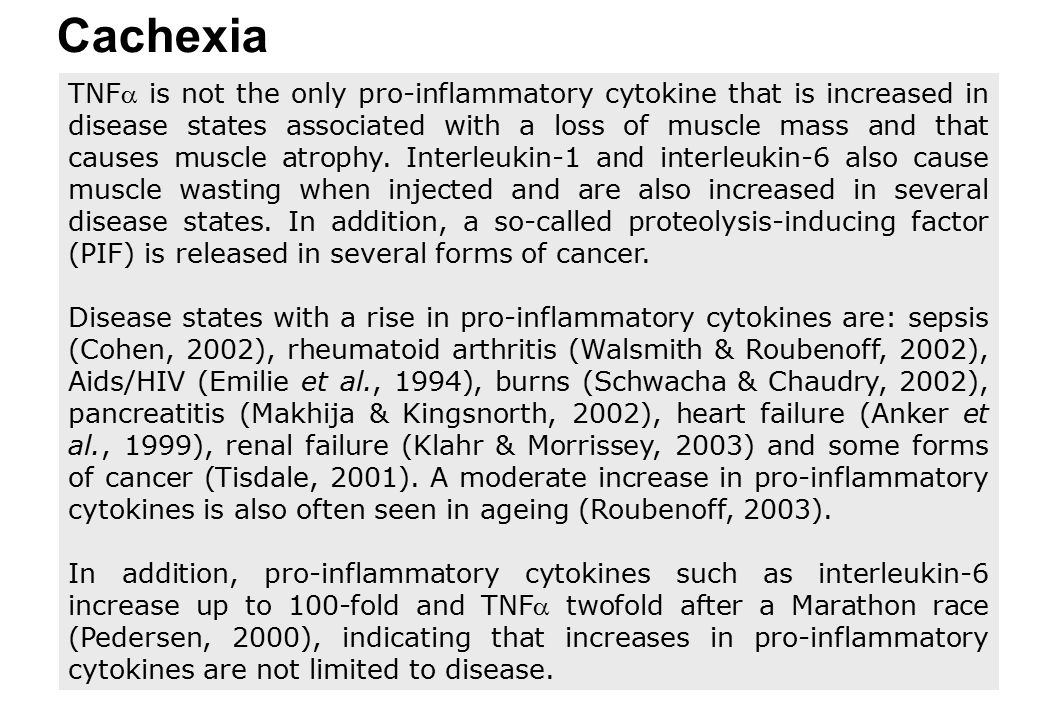 Cachexia TNF is not the only pro-inflammatory cytokine that is increased in disease states associated with a loss of muscle mass and that causes musc