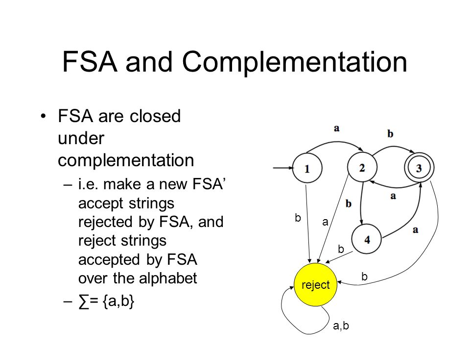 FSA and Complementation FSA are closed under complementation –i.e.