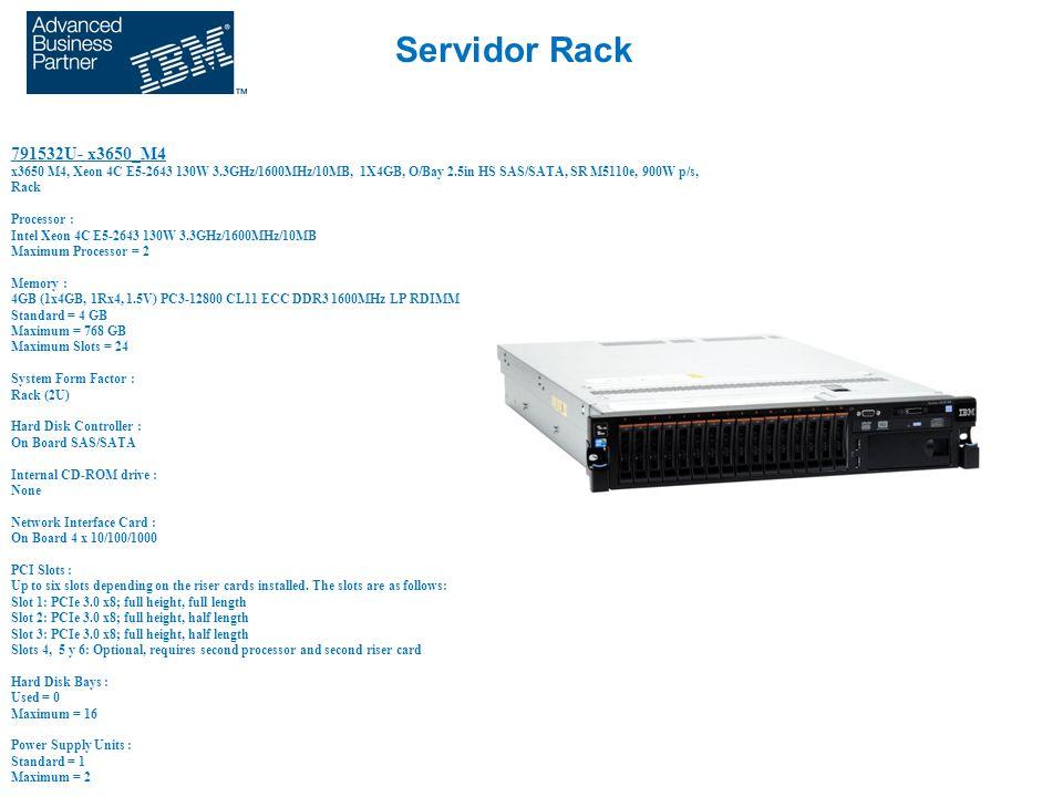 Servidor Rack 791532U- x3650_M4 x3650 M4, Xeon 4C E5-2643 130W 3.3GHz/1600MHz/10MB, 1X4GB, O/Bay 2.5in HS SAS/SATA, SR M5110e, 900W p/s, Rack Processo