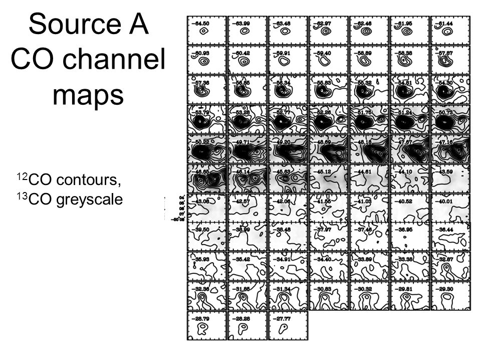 Source A CO channel maps 12 CO contours, 13 CO greyscale