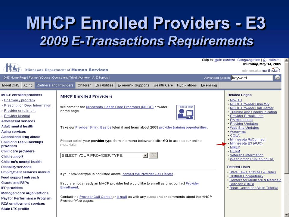 Minnesota Health Care Programs MHCP Enrolled Providers - E3 2009 E-Transactions Requirements