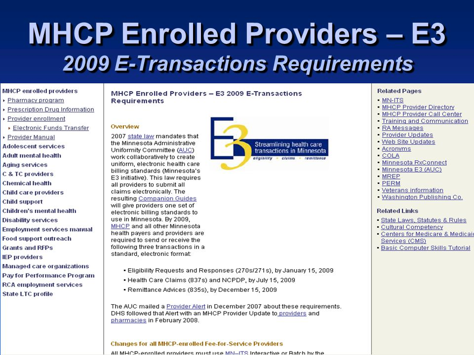 Minnesota Health Care Programs for Changes for Providers General and Institutional 837I