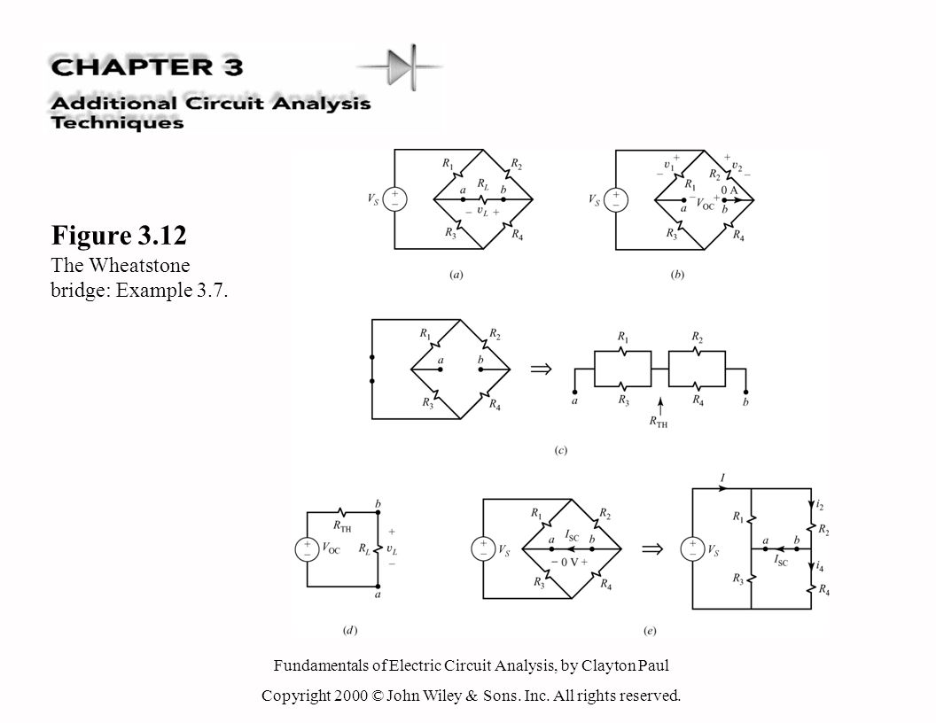 Fundamentals of Electric Circuit Analysis, by Clayton Paul Copyright 2000 © John Wiley & Sons. Inc. All rights reserved. Figure 3.12 The Wheatstone br