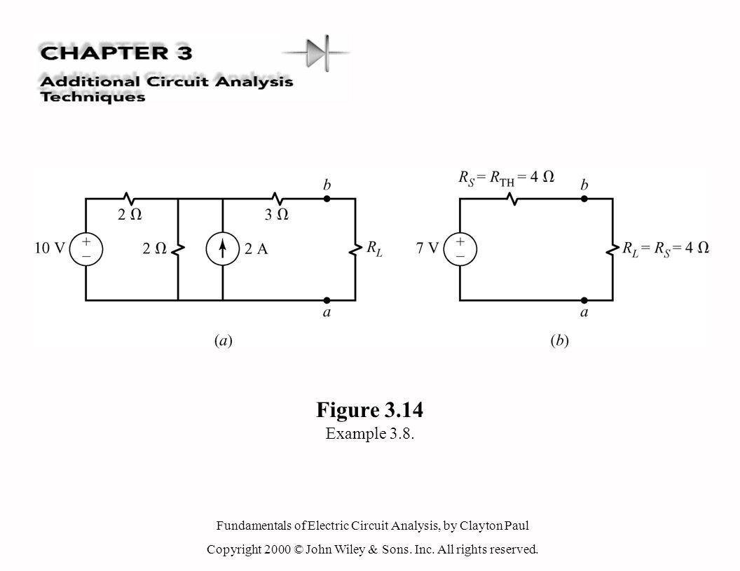 Fundamentals of Electric Circuit Analysis, by Clayton Paul Copyright 2000 © John Wiley & Sons. Inc. All rights reserved. Figure 3.14 Example 3.8.