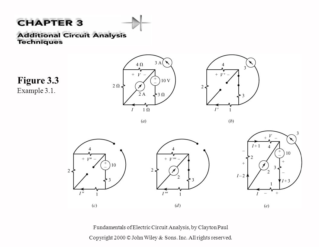 Fundamentals of Electric Circuit Analysis, by Clayton Paul Copyright 2000 © John Wiley & Sons. Inc. All rights reserved. Figure 3.3 Example 3.1.