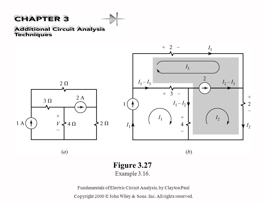 Fundamentals of Electric Circuit Analysis, by Clayton Paul Copyright 2000 © John Wiley & Sons. Inc. All rights reserved. Figure 3.27 Example 3.16.