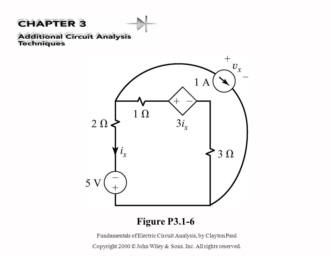Fundamentals of Electric Circuit Analysis, by Clayton Paul Copyright 2000 © John Wiley & Sons. Inc. All rights reserved. Figure P3.1-6