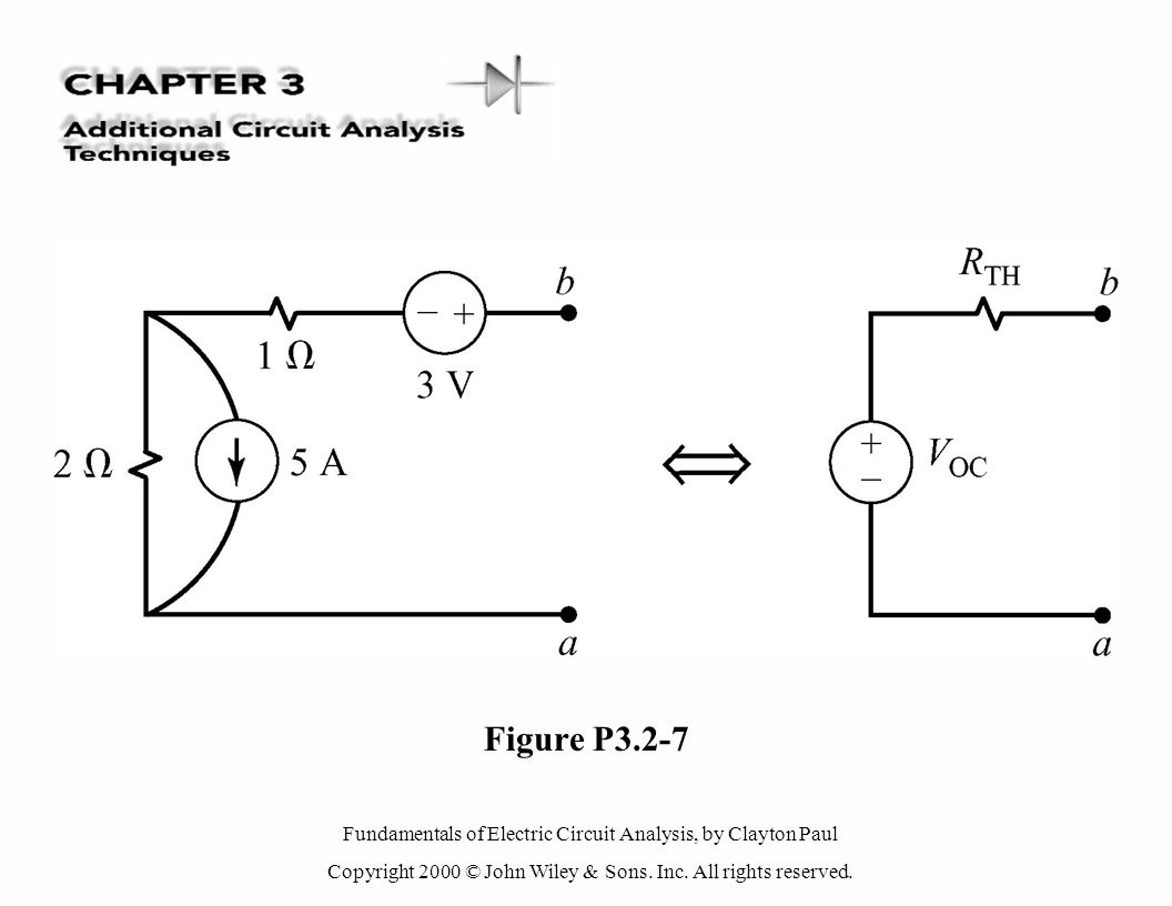 Fundamentals of Electric Circuit Analysis, by Clayton Paul Copyright 2000 © John Wiley & Sons. Inc. All rights reserved. Figure P3.2-7