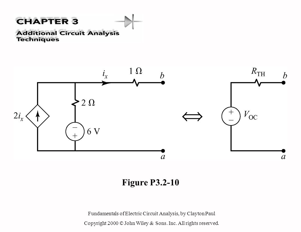 Fundamentals of Electric Circuit Analysis, by Clayton Paul Copyright 2000 © John Wiley & Sons. Inc. All rights reserved. Figure P3.2-10