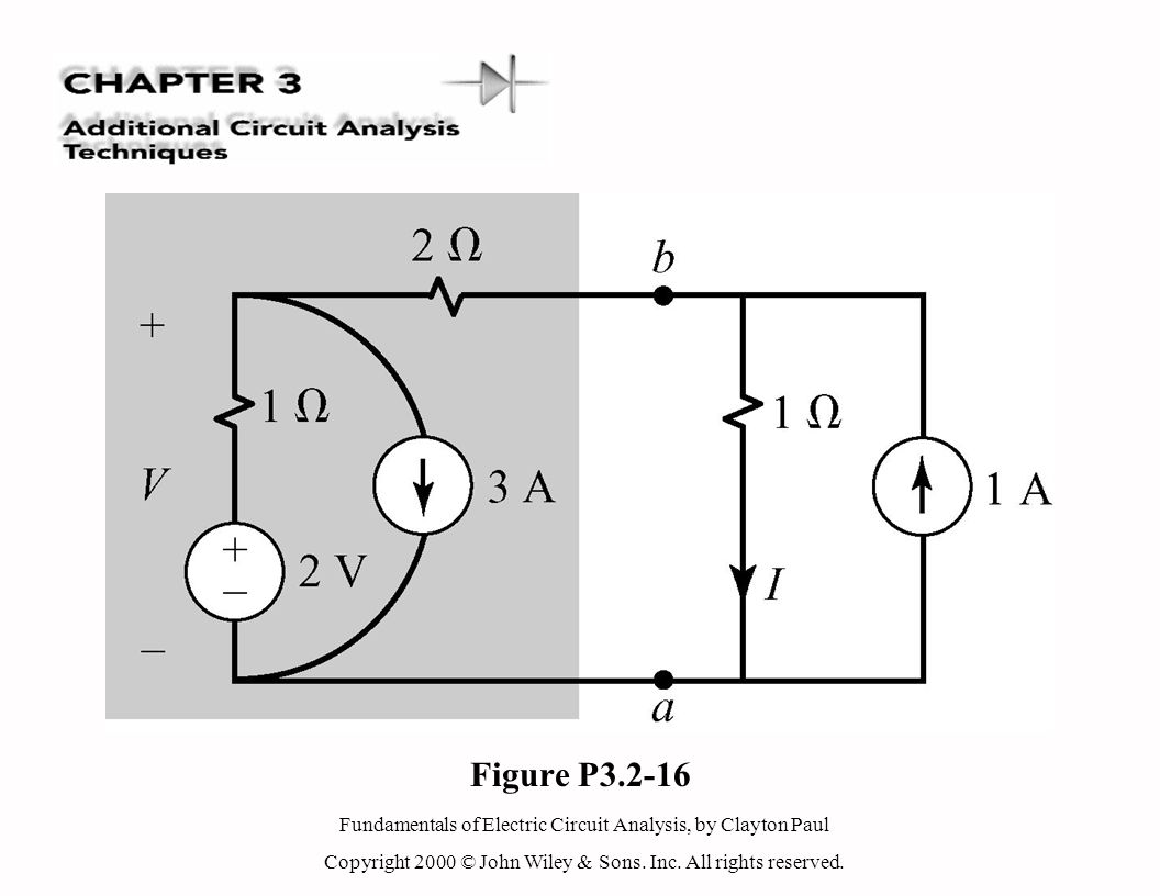 Fundamentals of Electric Circuit Analysis, by Clayton Paul Copyright 2000 © John Wiley & Sons. Inc. All rights reserved. Figure P3.2-16