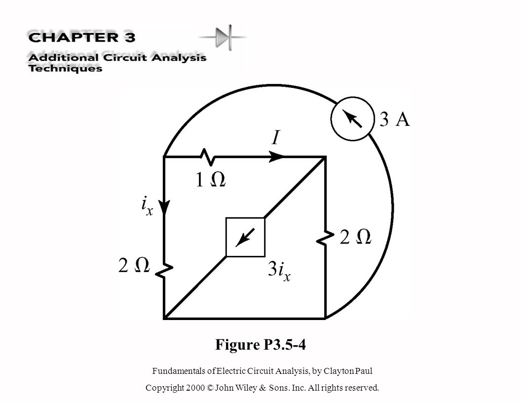 Fundamentals of Electric Circuit Analysis, by Clayton Paul Copyright 2000 © John Wiley & Sons. Inc. All rights reserved. Figure P3.5-4