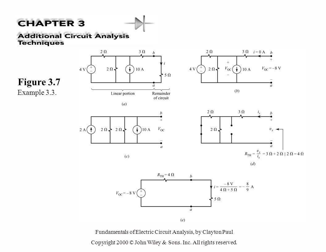 Fundamentals of Electric Circuit Analysis, by Clayton Paul Copyright 2000 © John Wiley & Sons. Inc. All rights reserved. Figure 3.7 Example 3.3.