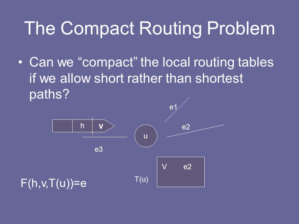 The Compact Routing Problem Can we compact the local routing tables if we allow short rather than shortest paths.