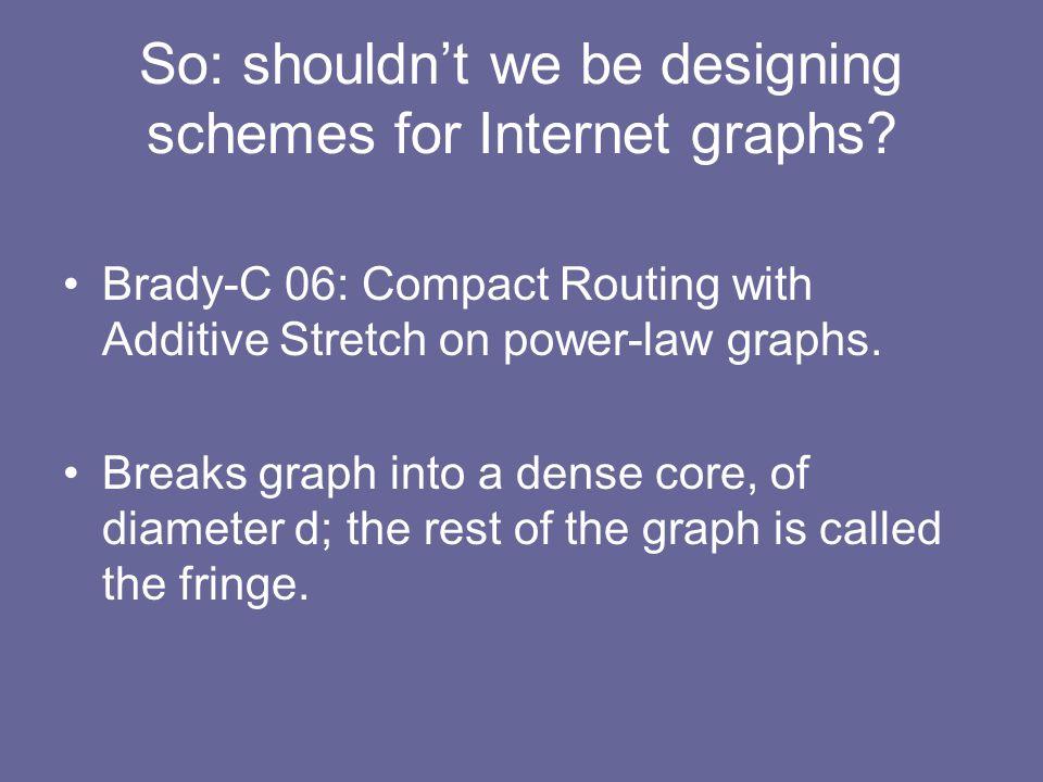 So: shouldn't we be designing schemes for Internet graphs.