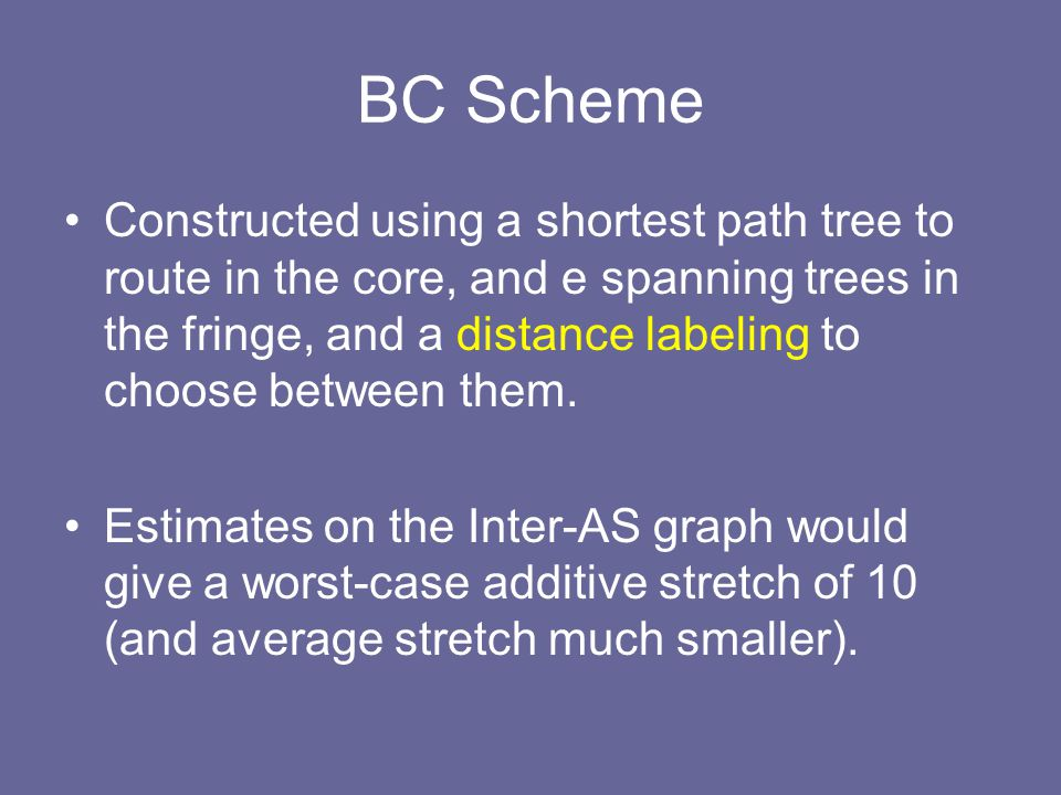 BC Scheme Constructed using a shortest path tree to route in the core, and e spanning trees in the fringe, and a distance labeling to choose between them.