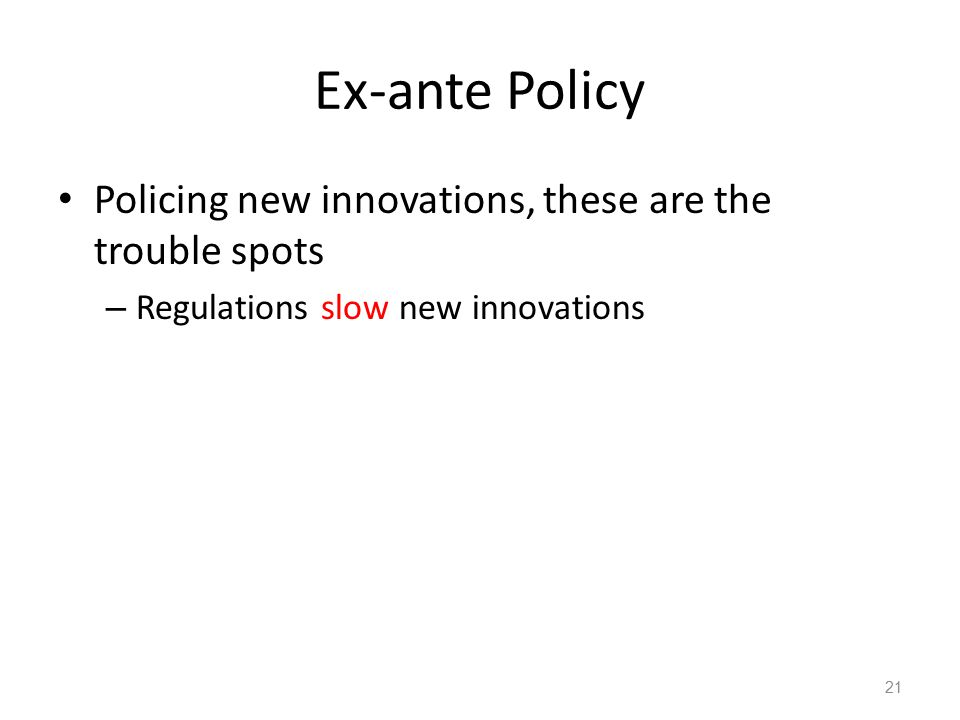 Ex-ante Policy Policing new innovations, these are the trouble spots – Regulations slow new innovations 21