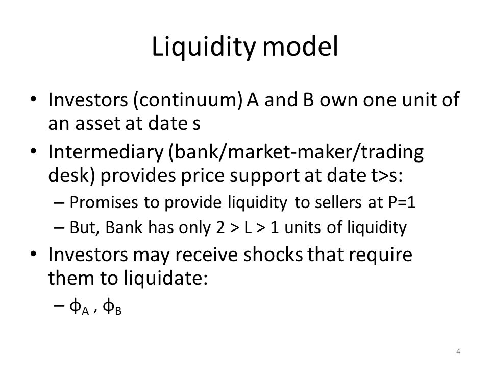 Fundamental equilibrium at date t One of four states – No shocks: P = 1 – A shock: P = 1 – B shock:P = 1 – A and B shocks:P = L/2 Date s price: – P s = 1 – (1 – L/2) φ A φ B – Liquidity discount = (1 – L/2) φ A φ B 5