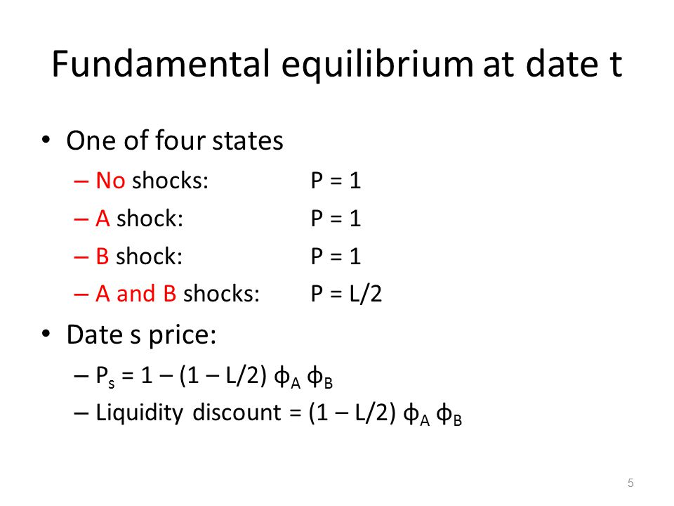Balance Sheet Considerations Define the equity net worth of an investor as W = P t – D s Suppose date t holdings are subject to a capital/collateral constraint m Θ t < W 1 – Θ t is amount liquidated if constraint binds: 1 – Θ t = 1 - (P t – D s ) /m 6