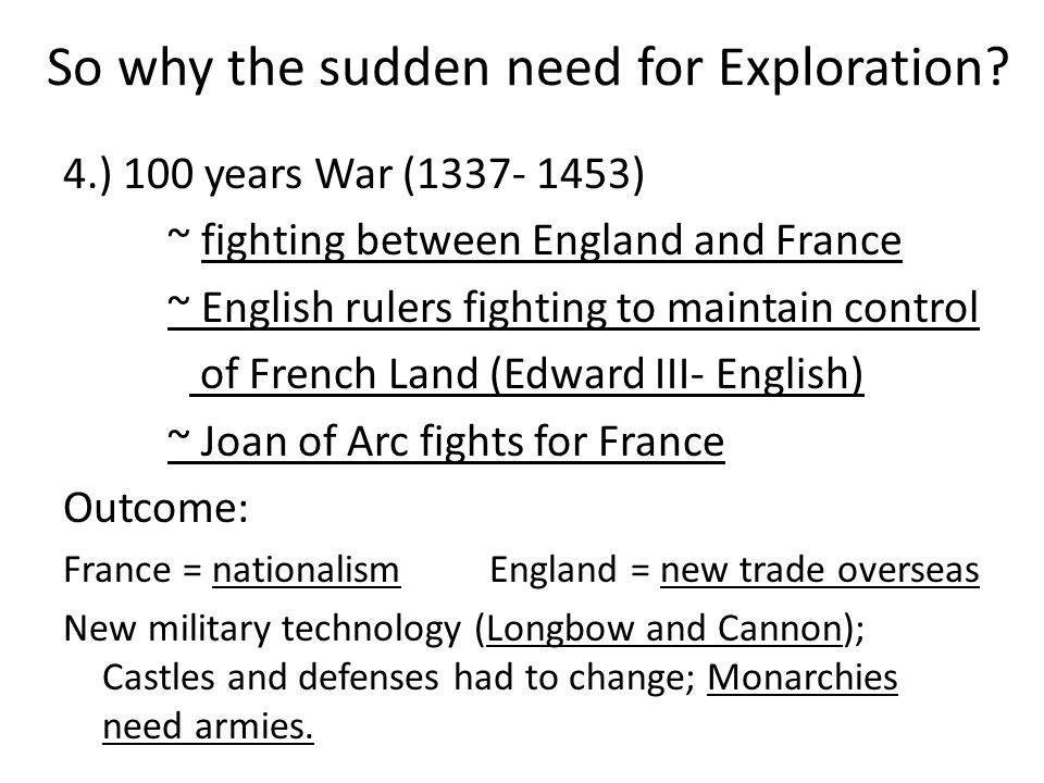 So why the sudden need for Exploration.