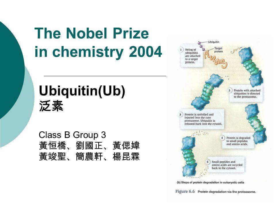 The Nobel Prize in chemistry 2004 Ubiquitin(Ub) 泛素 Class B Group 3 黃恒橋、劉國正、黃偲媁 黃竣聖、簡農軒、楊昆霖