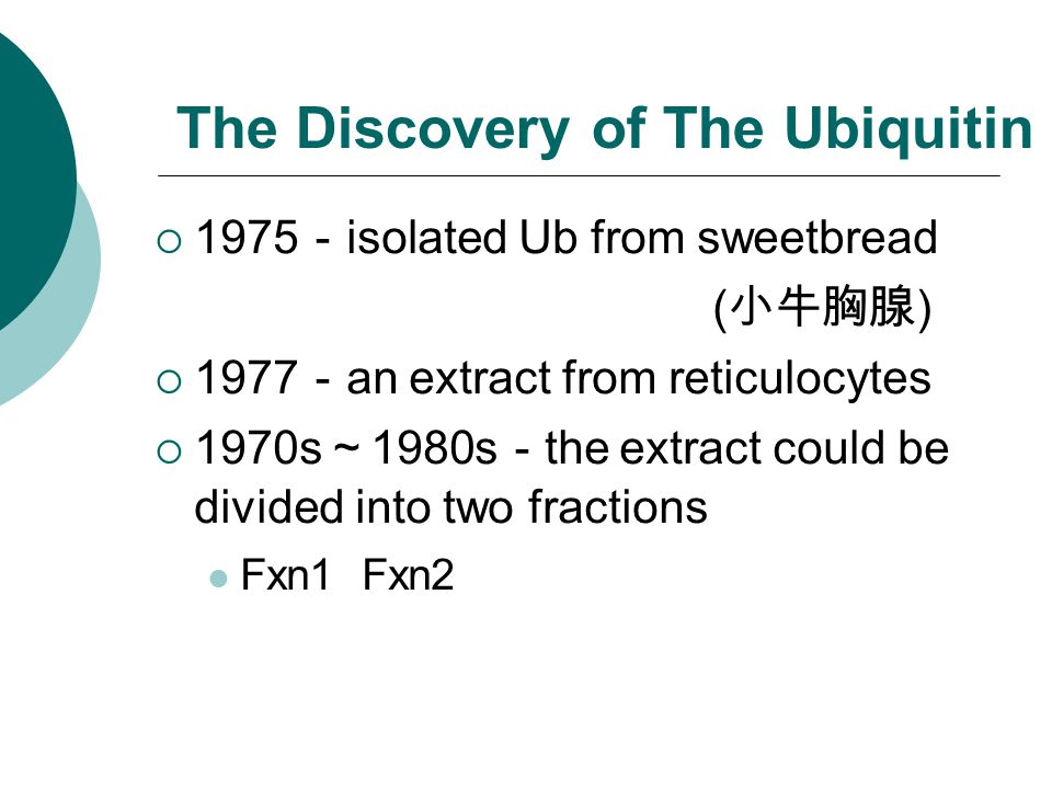 The Discovery of The Ubiquitin  1975 - isolated Ub from sweetbread ( 小牛胸腺 )  1977 - an extract from reticulocytes  1970s ~ 1980s - the extract coul