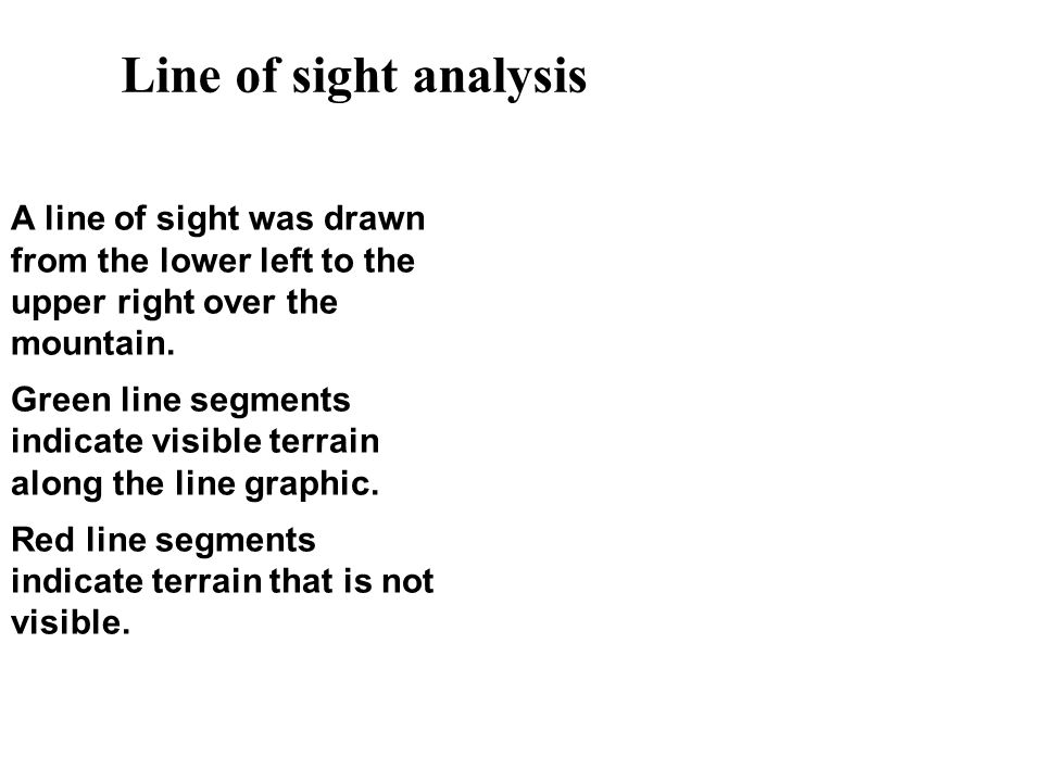 Line of sight analysis A line of sight was drawn from the lower left to the upper right over the mountain.