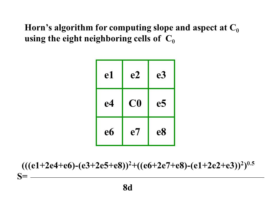 e1e2e3 e4C0e5 e6e7e8 Horn's algorithm for computing slope and aspect at C 0 using the eight neighboring cells of C 0 (((e1+2e4+e6)-(e3+2e5+e8)) 2 +((e6+2e7+e8)-(e1+2e2+e3)) 2 ) 0.5 S= ____________________________________________________________________________ 8d