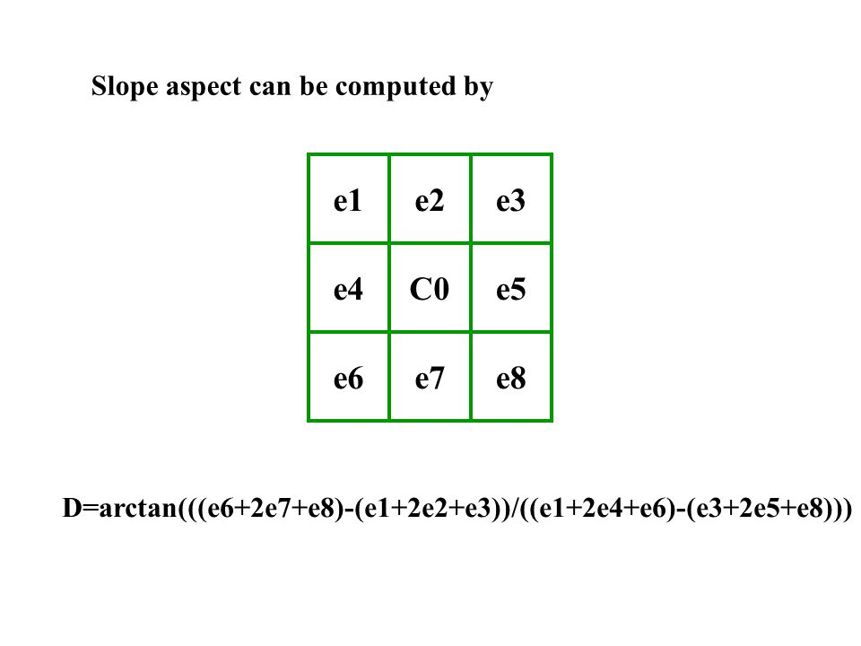 e1e2e3 e4C0e5 e6e7e8 Slope aspect can be computed by D=arctan(((e6+2e7+e8)-(e1+2e2+e3))/((e1+2e4+e6)-(e3+2e5+e8)))