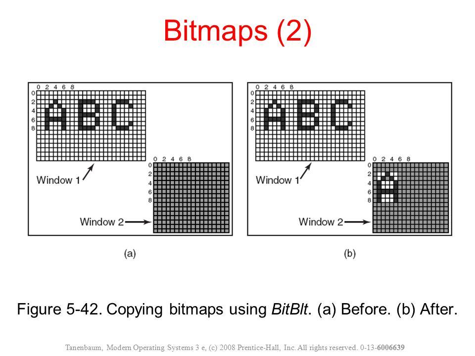 Figure 5-42. Copying bitmaps using BitBlt. (a) Before. (b) After. Bitmaps (2) Tanenbaum, Modern Operating Systems 3 e, (c) 2008 Prentice-Hall, Inc. Al