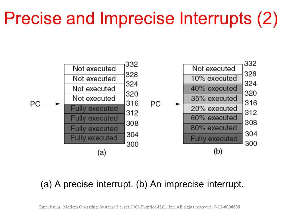 (a) A precise interrupt. (b) An imprecise interrupt. Precise and Imprecise Interrupts (2) Tanenbaum, Modern Operating Systems 3 e, (c) 2008 Prentice-H