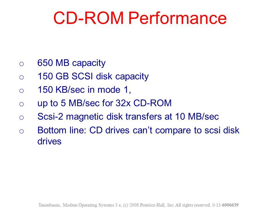 o 650 MB capacity o 150 GB SCSI disk capacity o 150 KB/sec in mode 1, o up to 5 MB/sec for 32x CD-ROM o Scsi-2 magnetic disk transfers at 10 MB/sec o