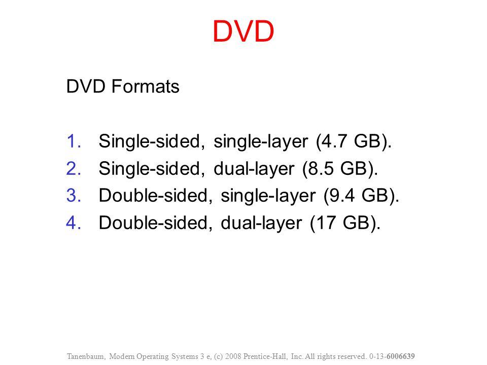 DVD DVD Formats 1.Single-sided, single-layer (4.7 GB). 2.Single-sided, dual-layer (8.5 GB). 3.Double-sided, single-layer (9.4 GB). 4.Double-sided, dua