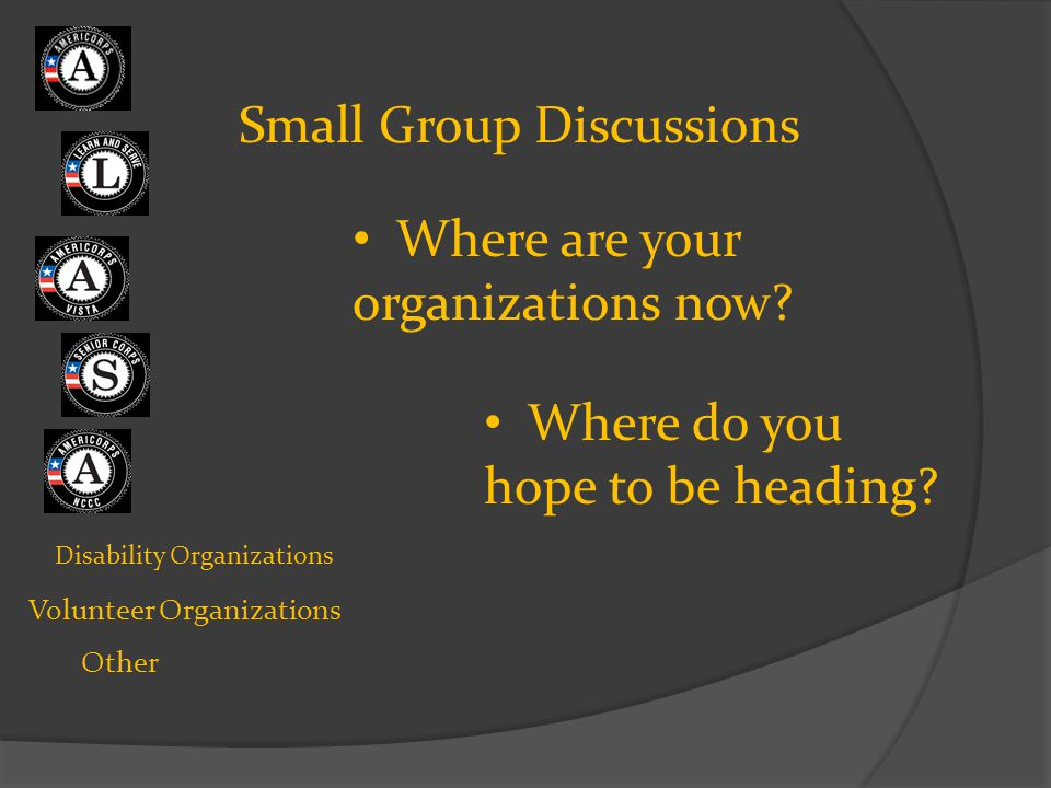 Disability Organizations Volunteer Organizations Other Small Group Discussions Where are your organizations now? Where do you hope to be heading?