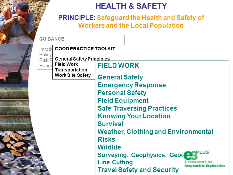 GUIDANCE Introduction Policy and Management Process Risk Prevention Monitoring and Reporting GOOD PRACTICE TOOLKIT General Safety Principles Field Work Transportation Work Site Safety HEALTH & SAFETY PRINCIPLE: Safeguard the Health and Safety of Workers and the Local Population FIELD WORK General Safety Emergency Response Personal Safety Field Equipment Safe Traversing Practices Knowing Your Location Survival Weather, Clothing and Environmental Risks Wildlife Surveying: Geophysics, Geochemical and Line Cutting Travel Safety and Security
