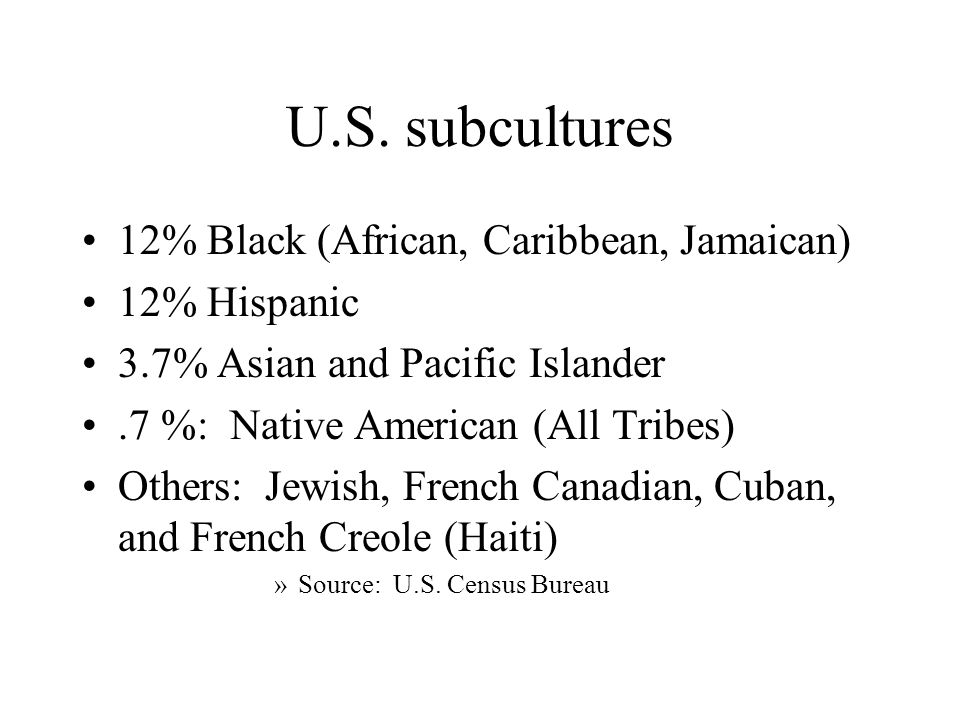 U.S. subcultures 12% Black (African, Caribbean, Jamaican) 12% Hispanic 3.7% Asian and Pacific Islander.7 %: Native American (All Tribes) Others: Jewis