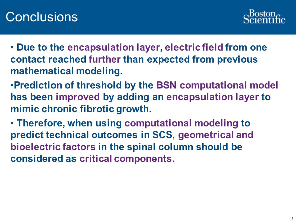 15 Conclusions Due to the encapsulation layer, electric field from one contact reached further than expected from previous mathematical modeling. Pred