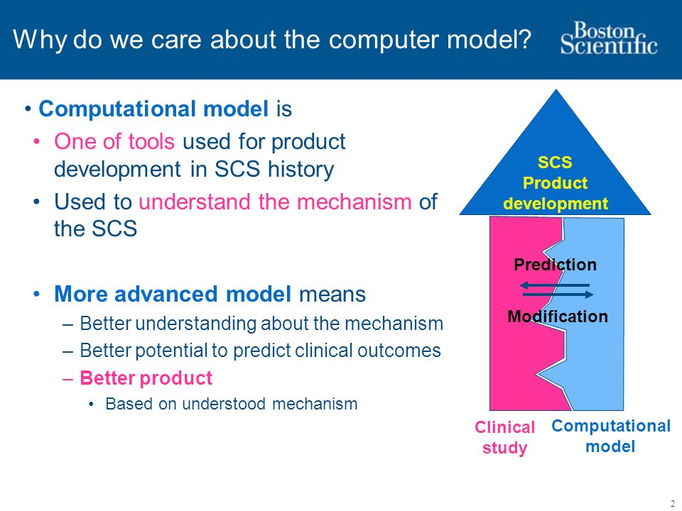 2 Why do we care about the computer model? Computational model is One of tools used for product development in SCS history Used to understand the mech