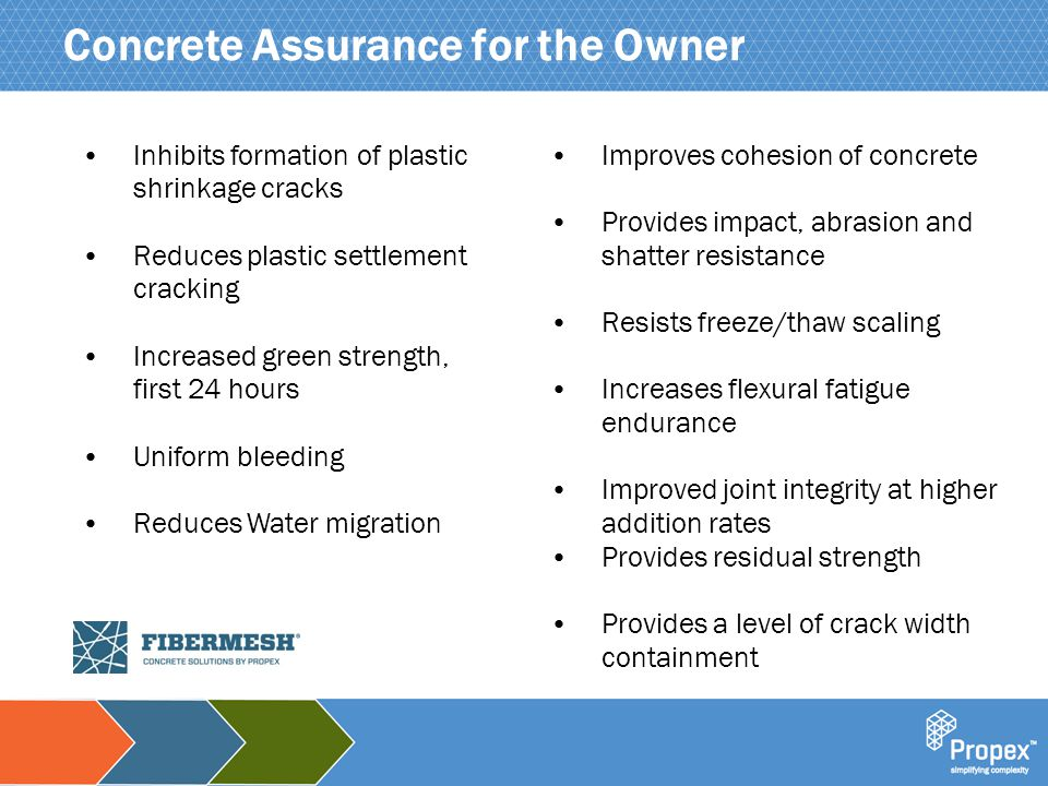Click to edit Master title style Concrete Assurance for the Owner Inhibits formation of plastic shrinkage cracks Reduces plastic settlement cracking I