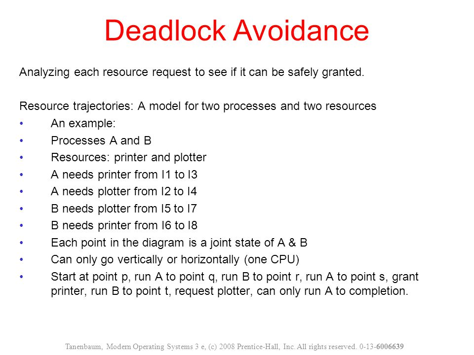 Deadlock Avoidance Analyzing each resource request to see if it can be safely granted. Resource trajectories: A model for two processes and two resour