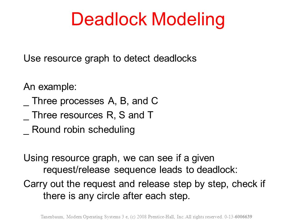 Figure 6-4.An example of how deadlock occurs and how it can be avoided.