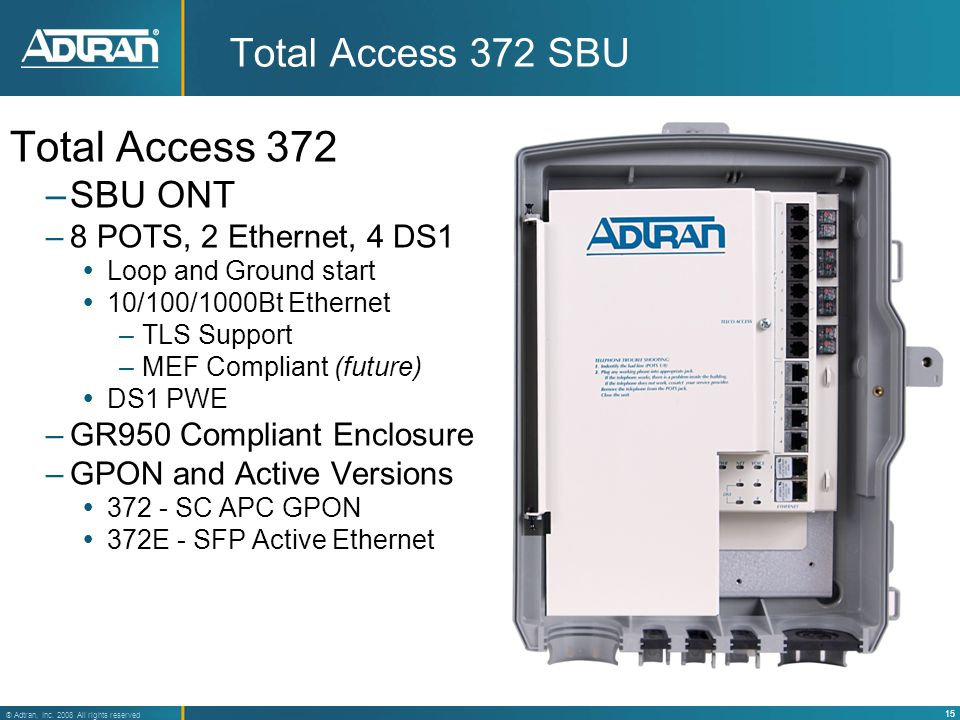 15 ® Adtran, Inc. 2008 All rights reserved Total Access 372 SBU Total Access 372 –SBU ONT –8 POTS, 2 Ethernet, 4 DS1  Loop and Ground start  10/100/