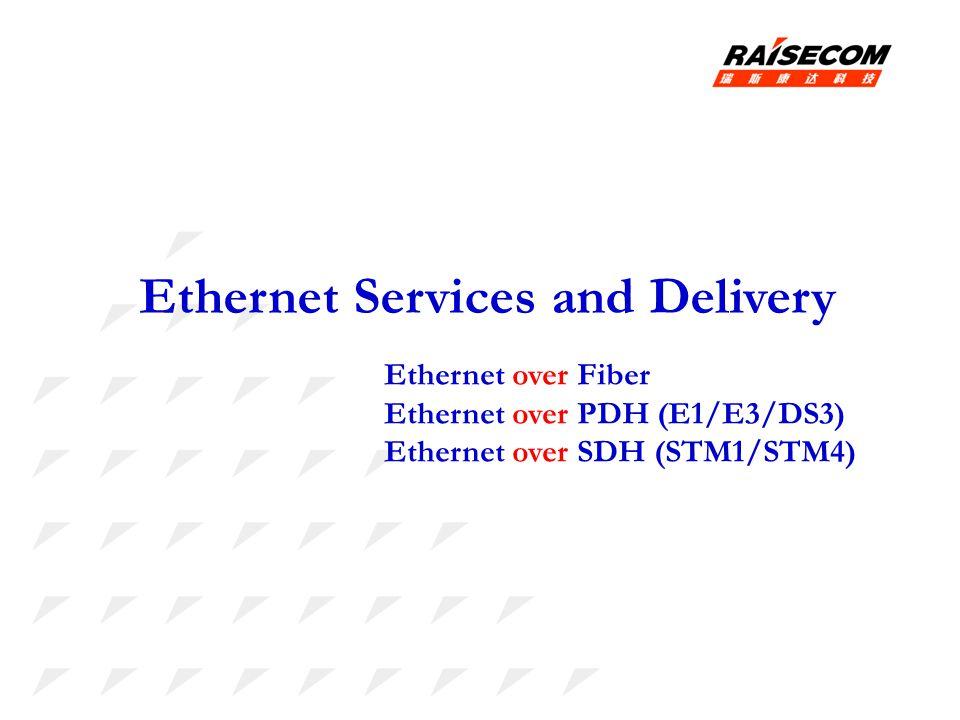 Ethernet Services and Delivery Ethernet over Fiber Ethernet over PDH (E1/E3/DS3) Ethernet over SDH (STM1/STM4)