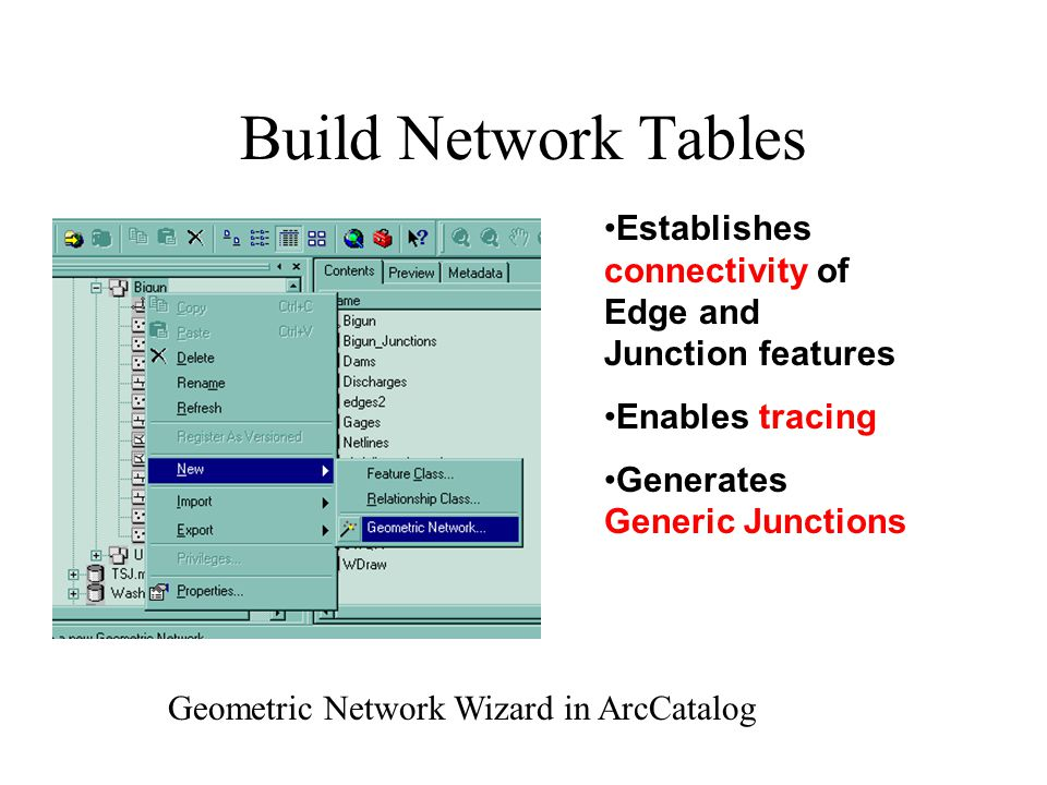 Build Network Tables Establishes connectivity of Edge and Junction features Enables tracing Generates Generic Junctions Geometric Network Wizard in ArcCatalog