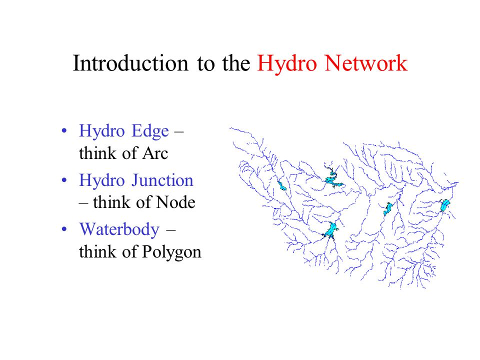 Introduction to the Hydro Network Hydro Edge – think of Arc Hydro Junction – think of Node Waterbody – think of Polygon