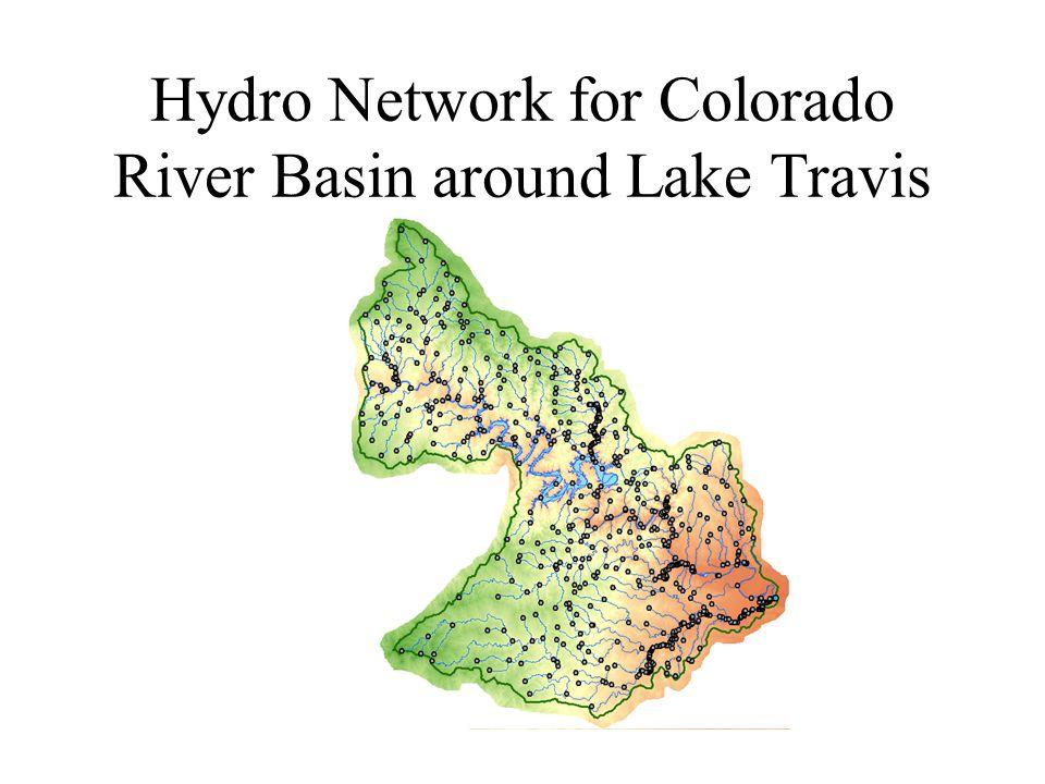 Hydro Network for Colorado River Basin around Lake Travis