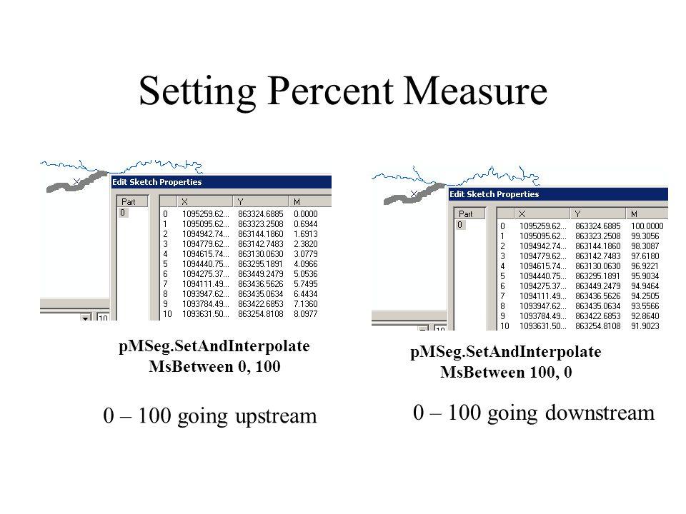 Setting Percent Measure pMSeg.SetAndInterpolate MsBetween 0, 100 pMSeg.SetAndInterpolate MsBetween 100, 0 0 – 100 going upstream 0 – 100 going downstream