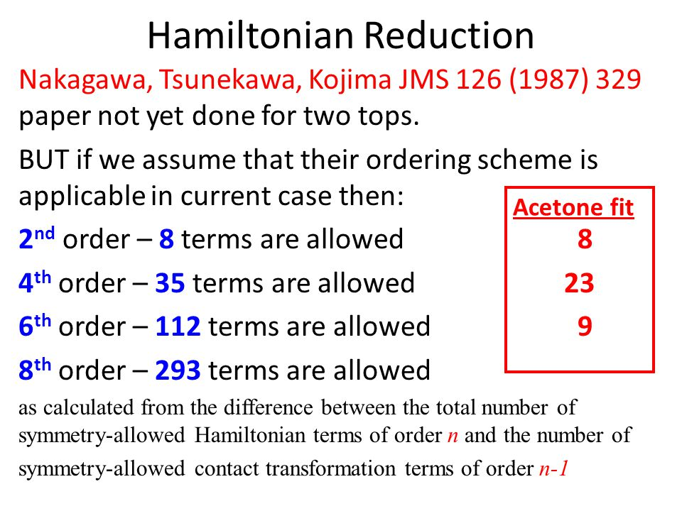 A check of the program code for different types of the higher-order terms was carried out by verifying that: Eigenvalues E and E' of the Hamiltonians H and H +  H 2, satisfy E' = E +  E 2 to machine round-off error Since in the program we encode ONE expression checking of a limited number of different types of terms validates correctness of all possible paths in Hamiltonian matrix setup routine