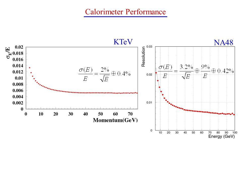 NA48 KTeV Calorimeter Performance