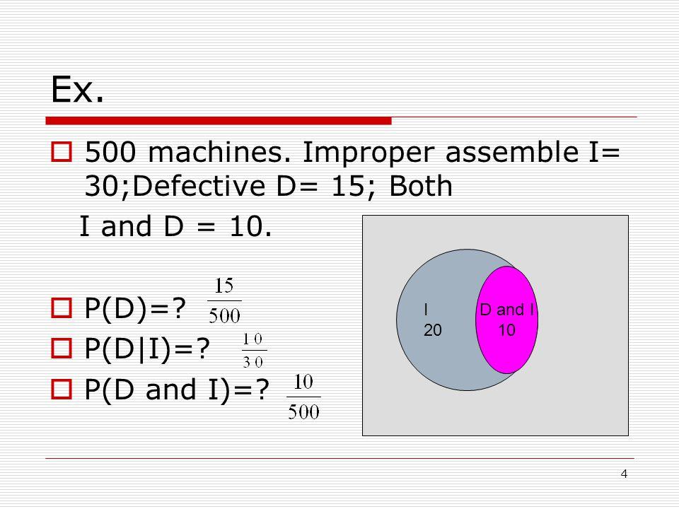 4 D and I 10 Ex.  500 machines. Improper assemble I= 30;Defective D= 15; Both I and D = 10.