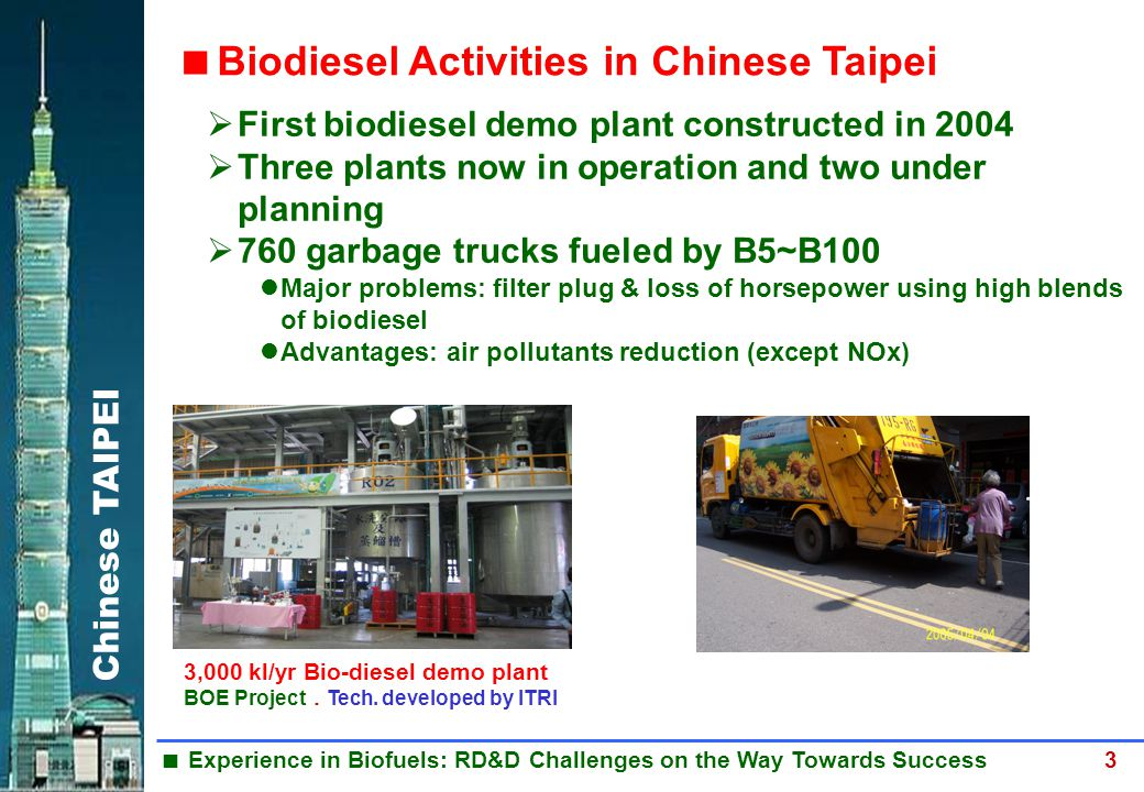 Chinese TAIPEI  Experience in Biofuels: RD&D Challenges on the Way Towards Success 3 3,000 kl/yr Bio-diesel demo plant BOE Project . Tech. developed